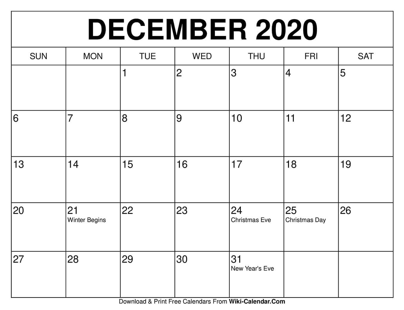 Printable Christmas Calendar 2020 Free Printable December 2020 Calendars