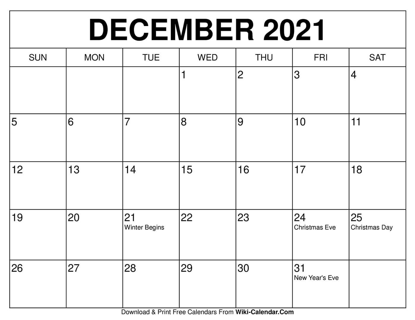 Printable Calendar For December 2021 Free Printable December 2020 Calendars