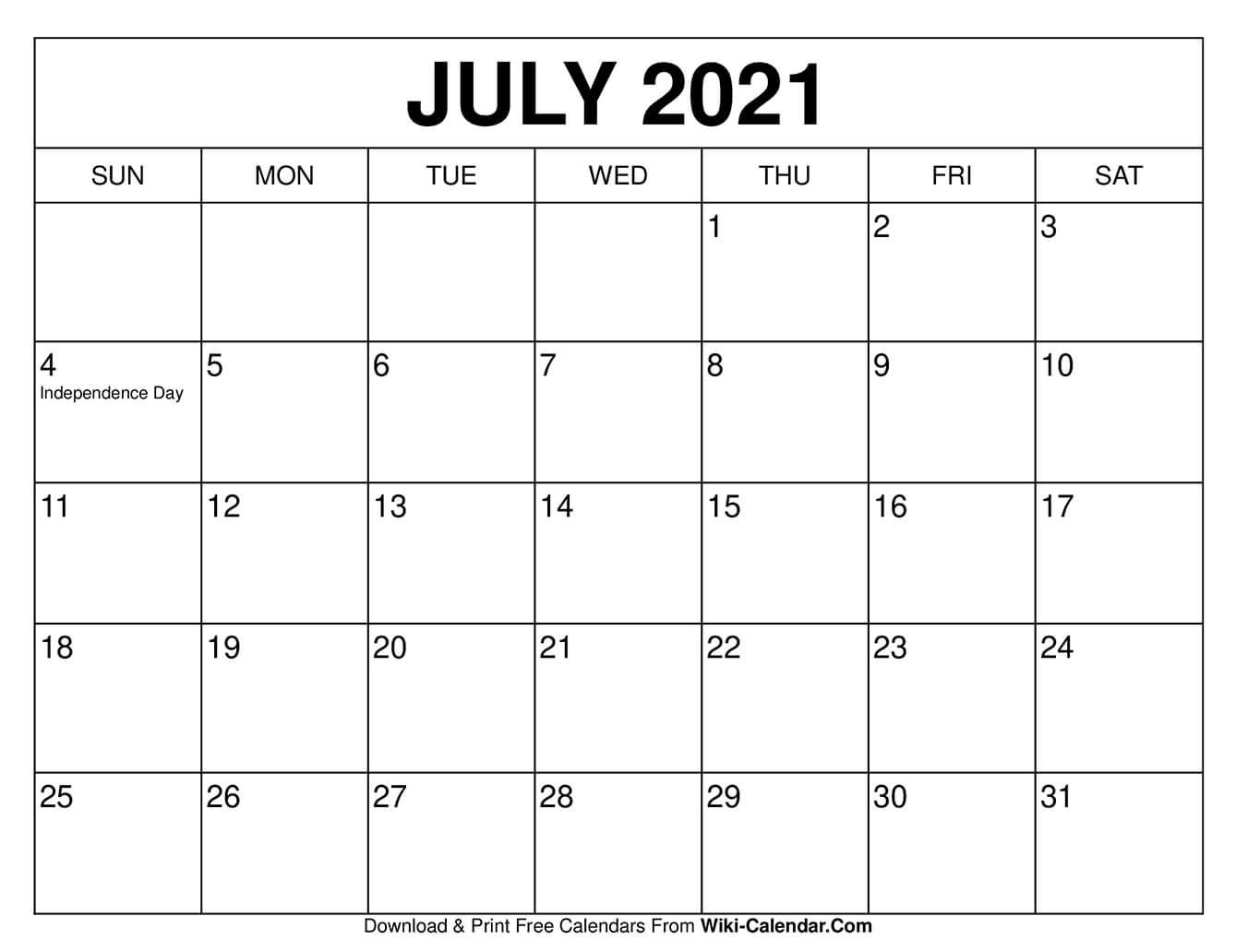July 2021 Calendar