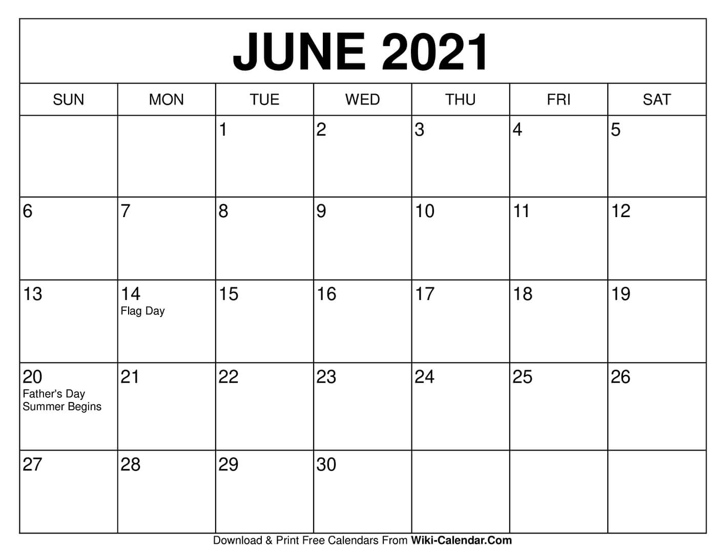 June Calendar Template 2021 Pictures