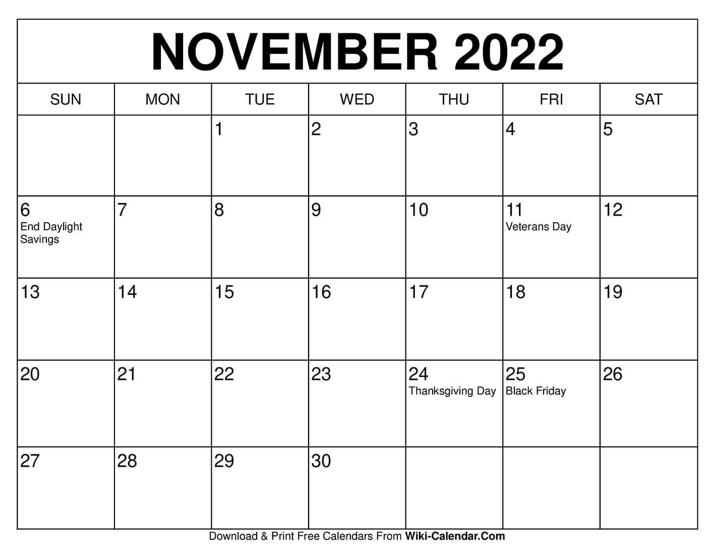 30 Days Calendar Template from www.wiki-calendar.com
