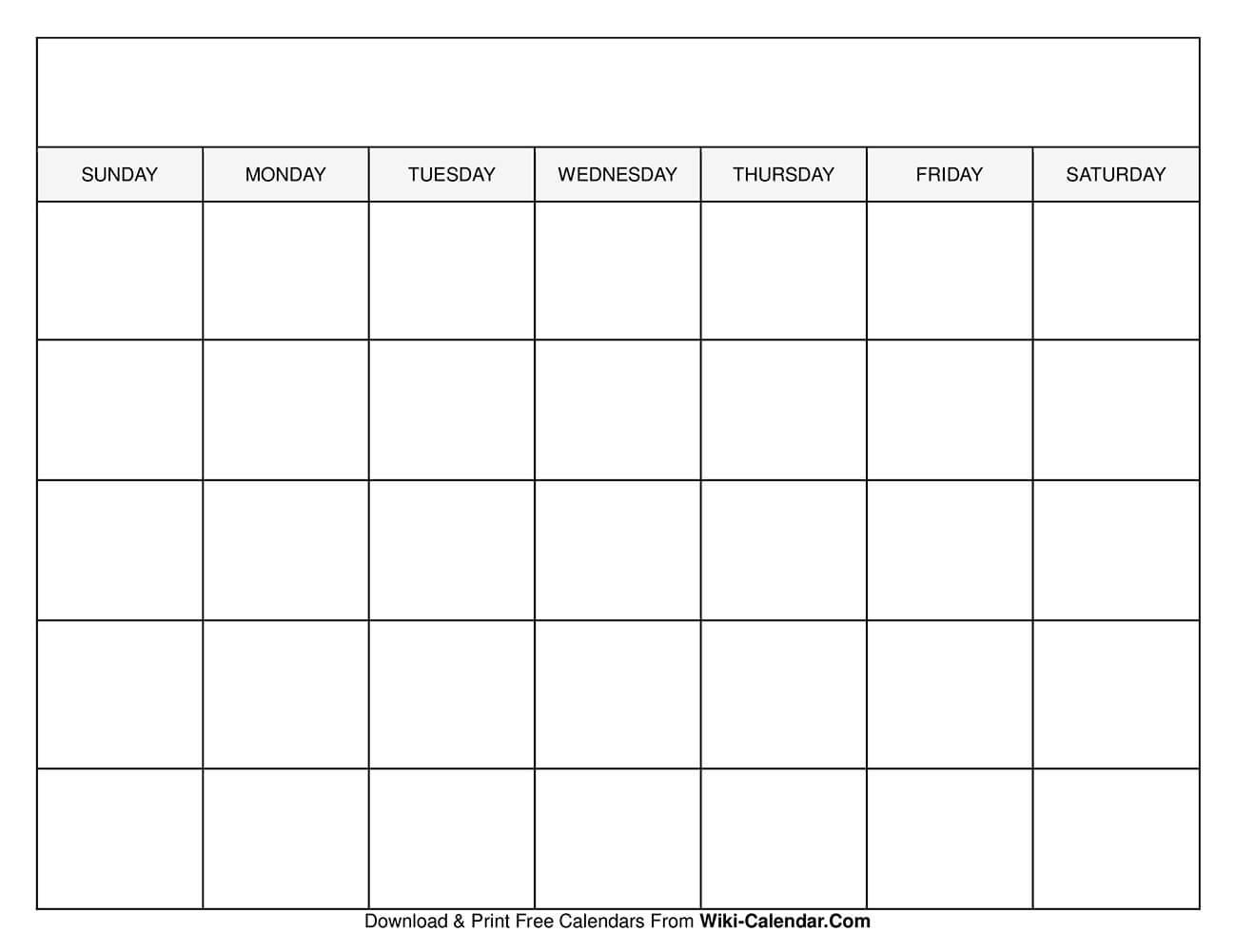 Blank Month Template from www.wiki-calendar.com