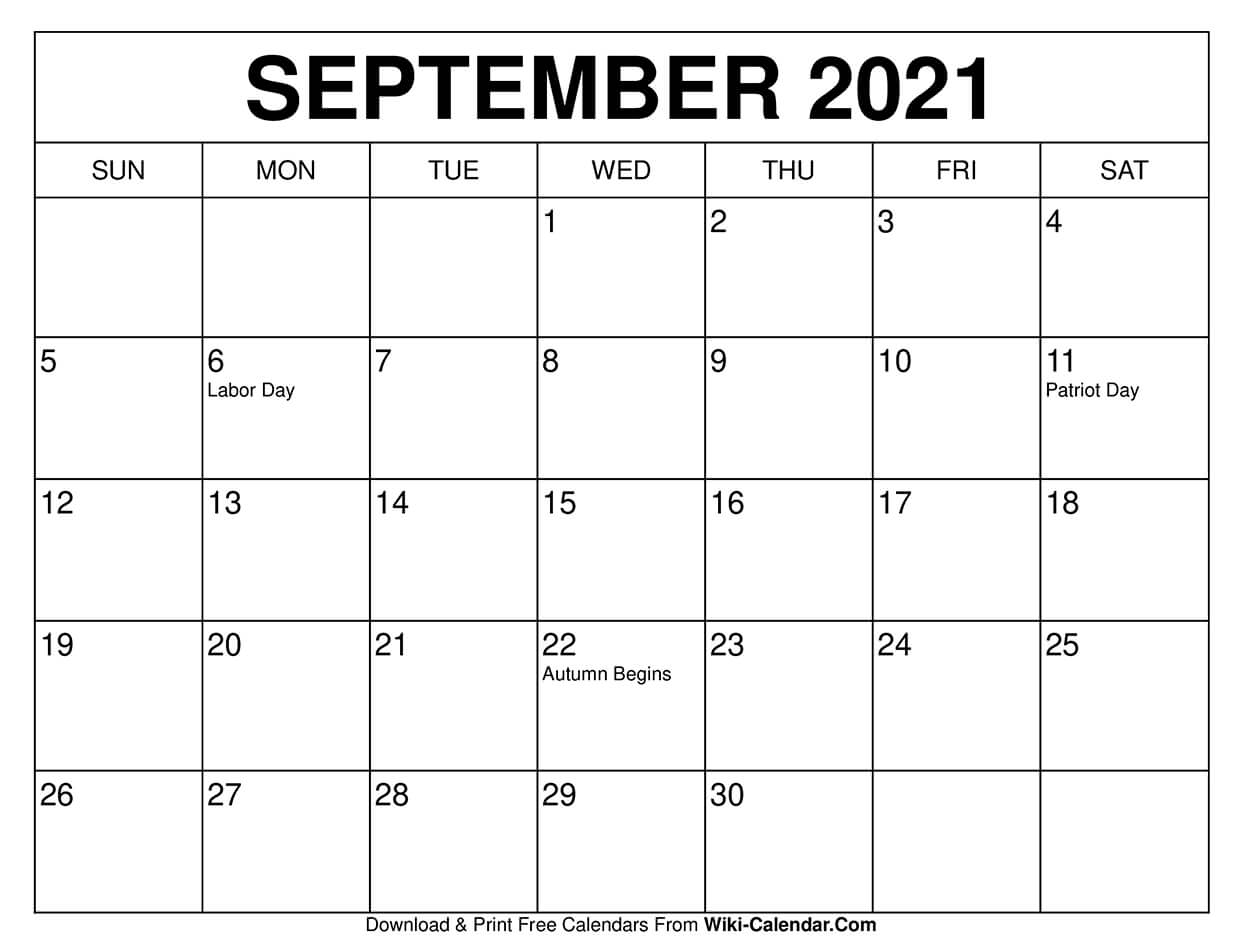 Printable 2021 September Calendar Pictures