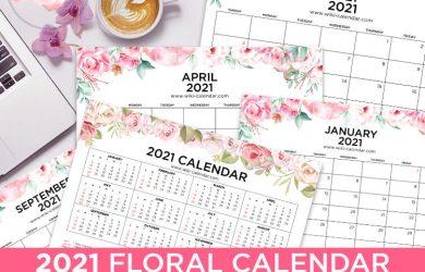 2021 Floral Calendar Landscape