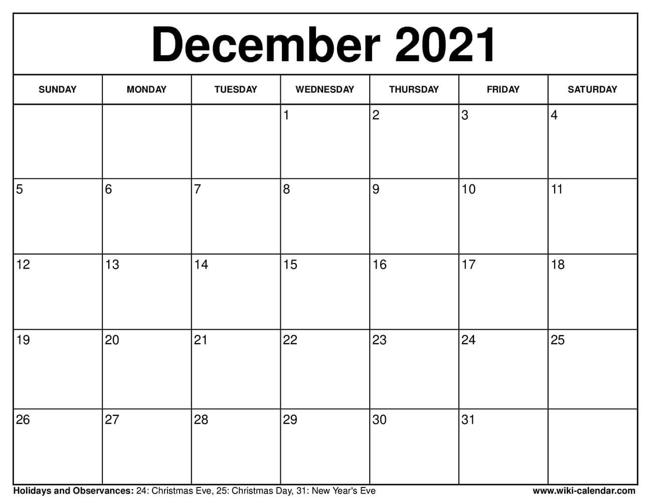 December 2021 Calendar Printable with Holidays