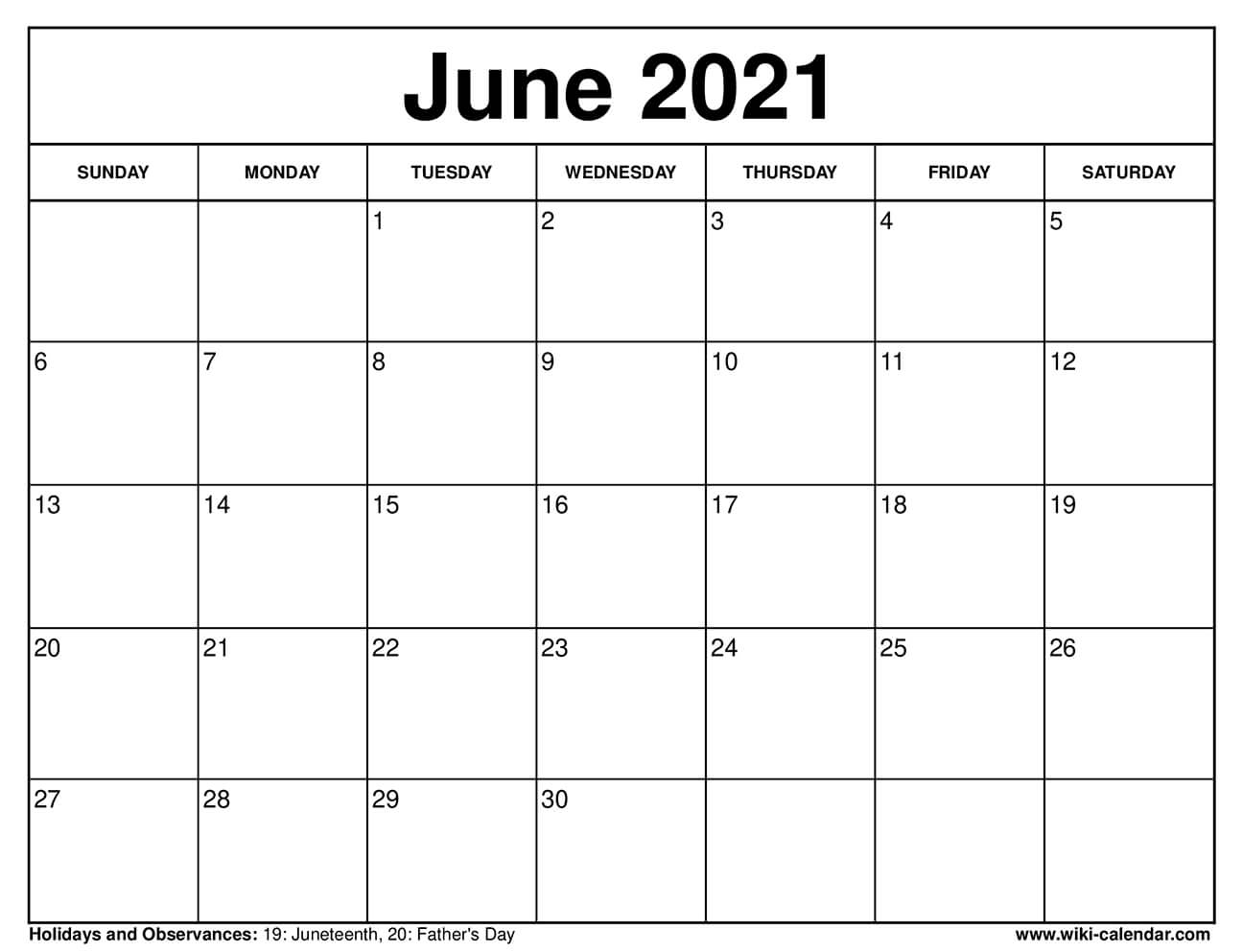 June 2021 Calendar Printable with Holidays