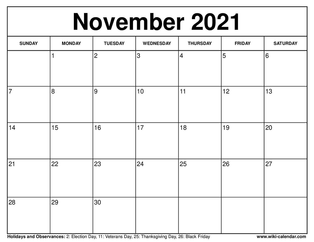 November 2021 Calendar Printable with Holidays
