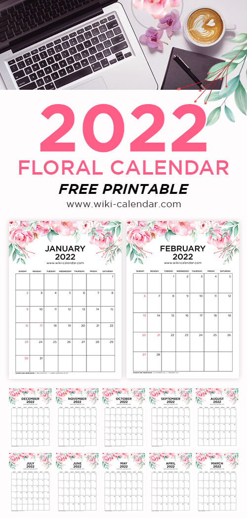 Floral Calendar 2022 Portrait