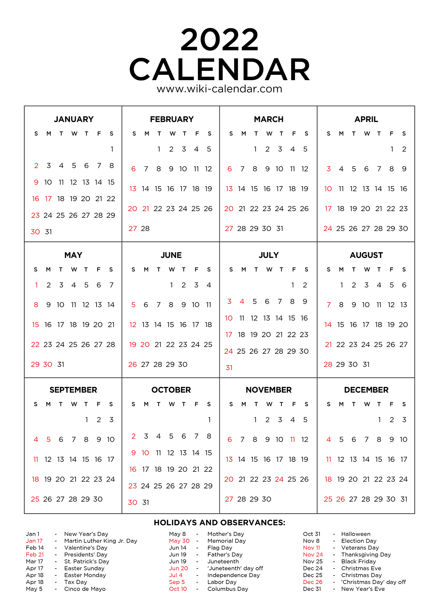 2022 Calendar Printable with Holidays