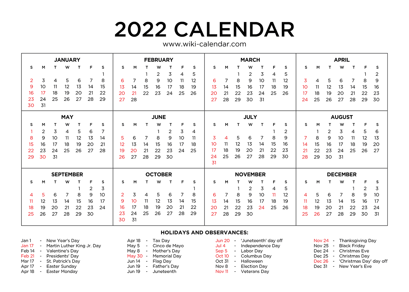 Year 2022 Calendar