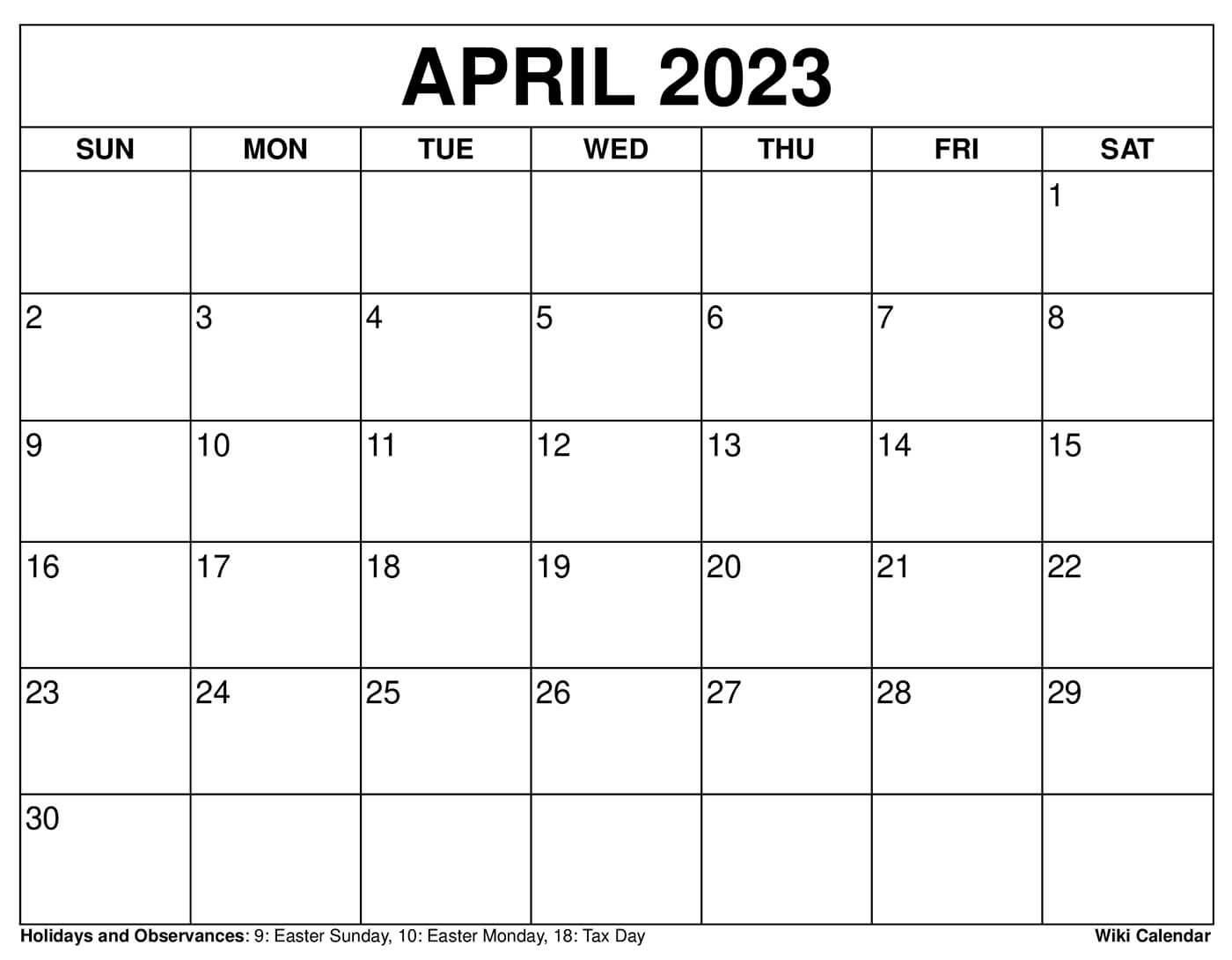 April 2023 Calendar