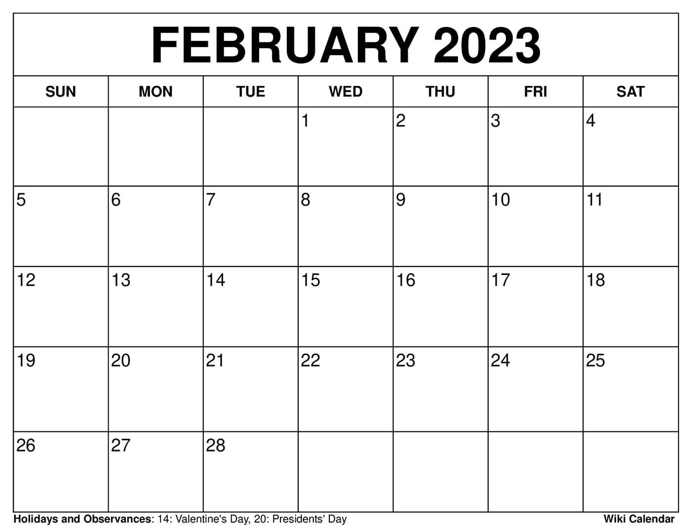 February 2023 Calendar