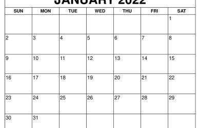 January 2022 Calendar