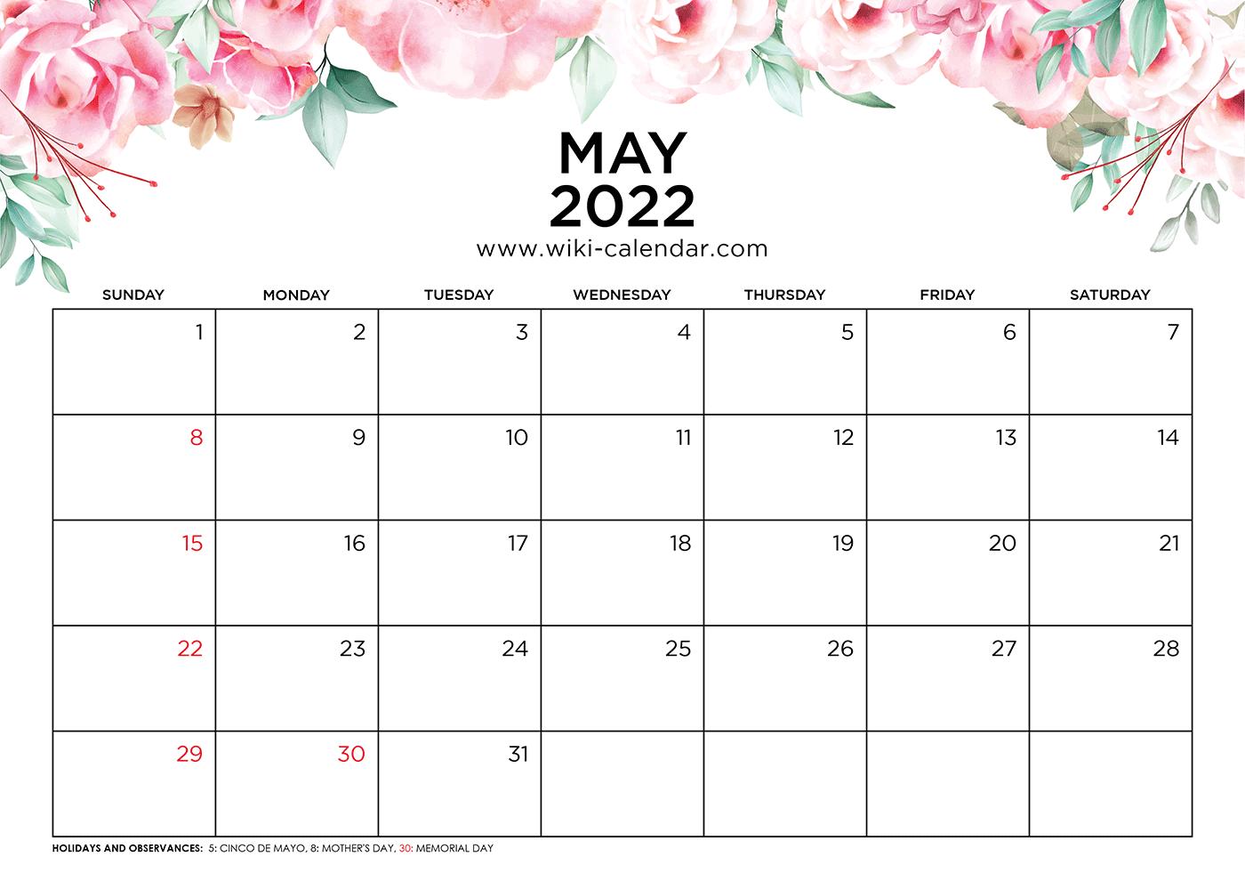 May 2022 Calendar Printable with Holidays